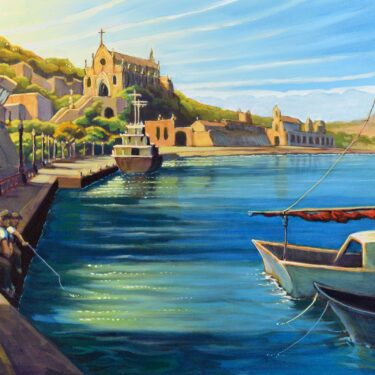 Plein air painting of the harbor at Gaeta, Italy