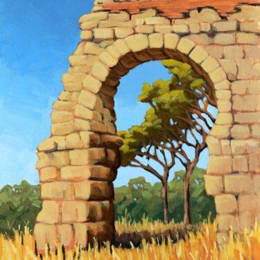 Plein air painting of an ancient Roman aqueduct near Rome, Italy