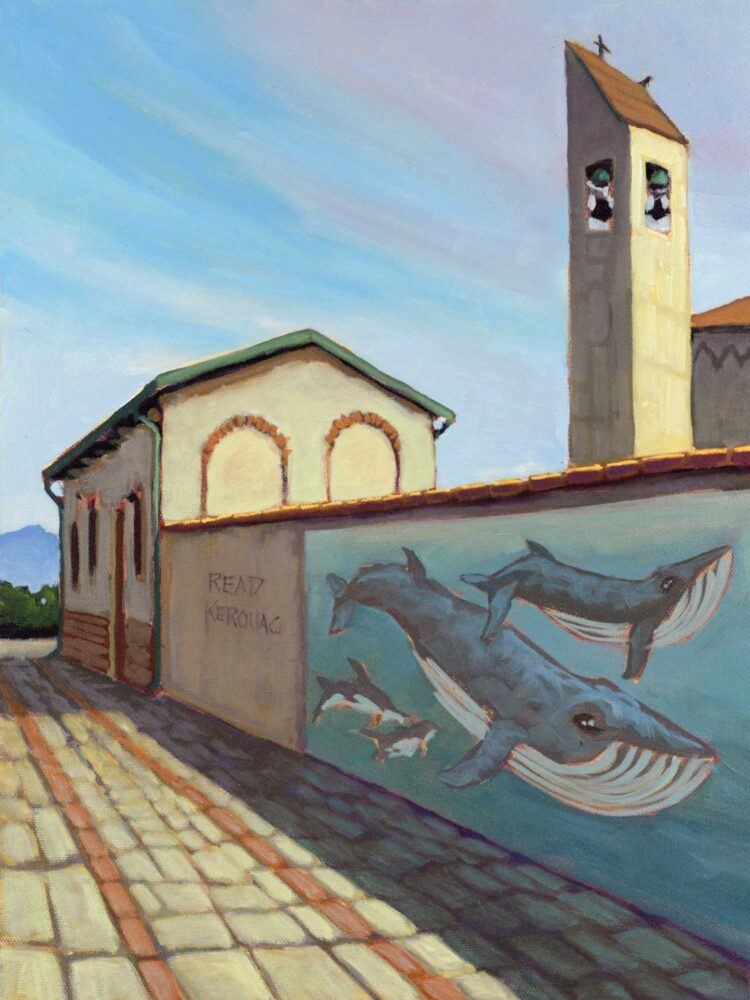 Plein air painting of mural on a church wall by Chris Del Moro and graffiti that say to Read Kerouac in Marina Di Pisa, Italy