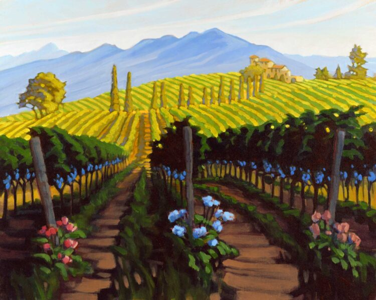 Plein air painting of flowers in a vineyard in Tuscany, Italy
