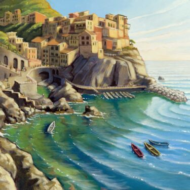 Plein air painting of a Cinque Terra village on the coast of Italy