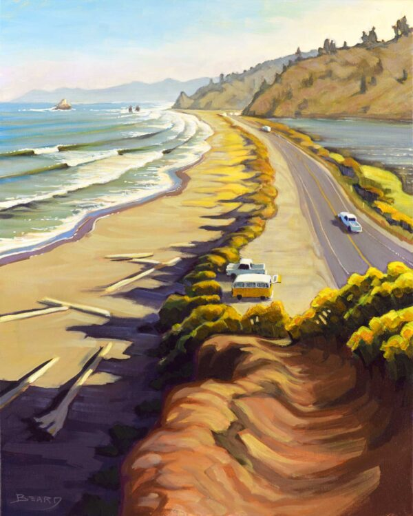 Plein air painting overlooking Highway 101 at Freshwater lagoon on the Humboldt coast of Northern California