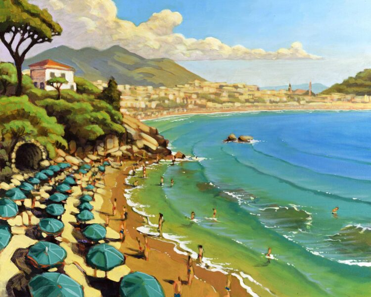 Plein air painting overlooking small cove full of umbrellas and beachgoers at Serrapo Beach looking toward Gaeta, Italy