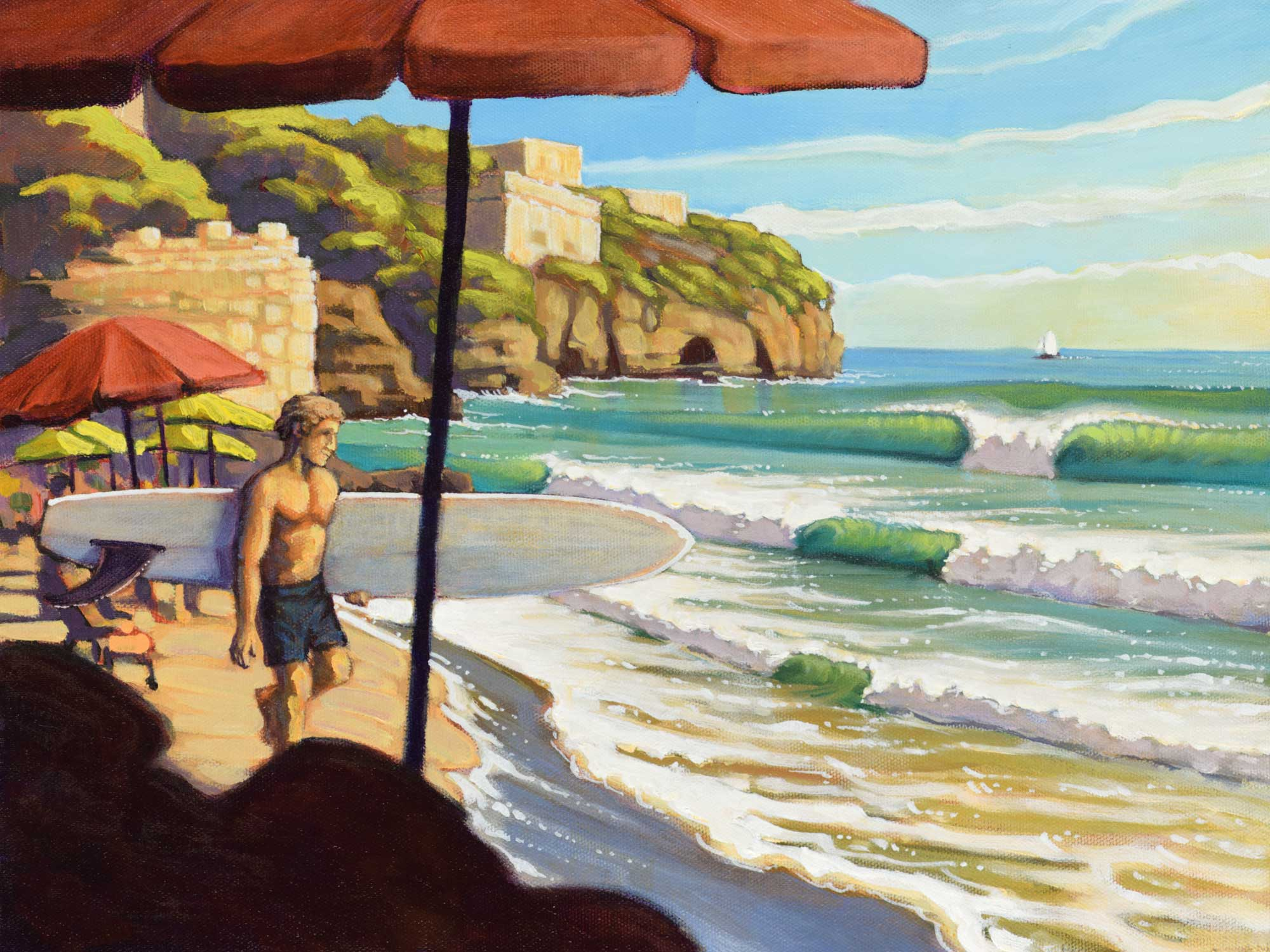 Painting of Dwight Harrington carrying a surfboard on Serrapo Beach, near Gaeta, Italy