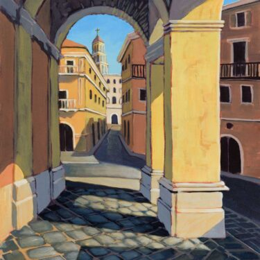 Plein air painting of antique archways in a courtyard in the town of Gaeta, Italy
