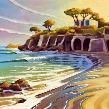 Plein air painting of small waves in a cove near Serrapo beach on the Italian coast near Gaeta