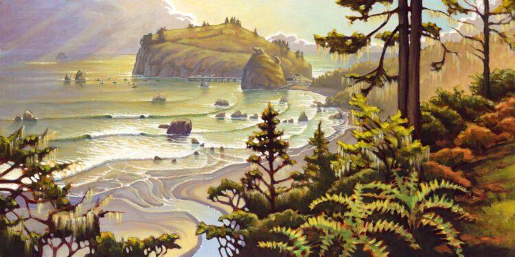 Plein air artwork of Trinidad Harbor on the Humboldt Coast of Northern California