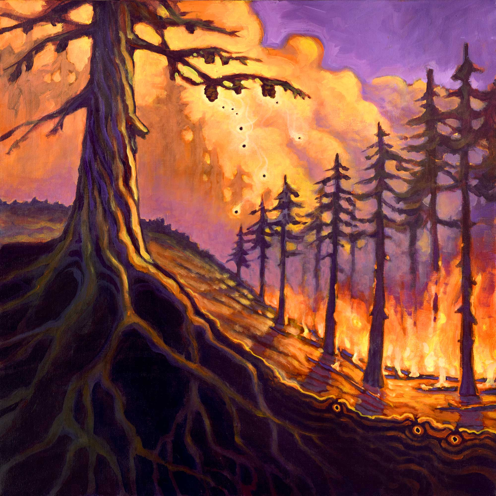 Painting of a wildfire burning a forest and causing a tree to release it's seeds