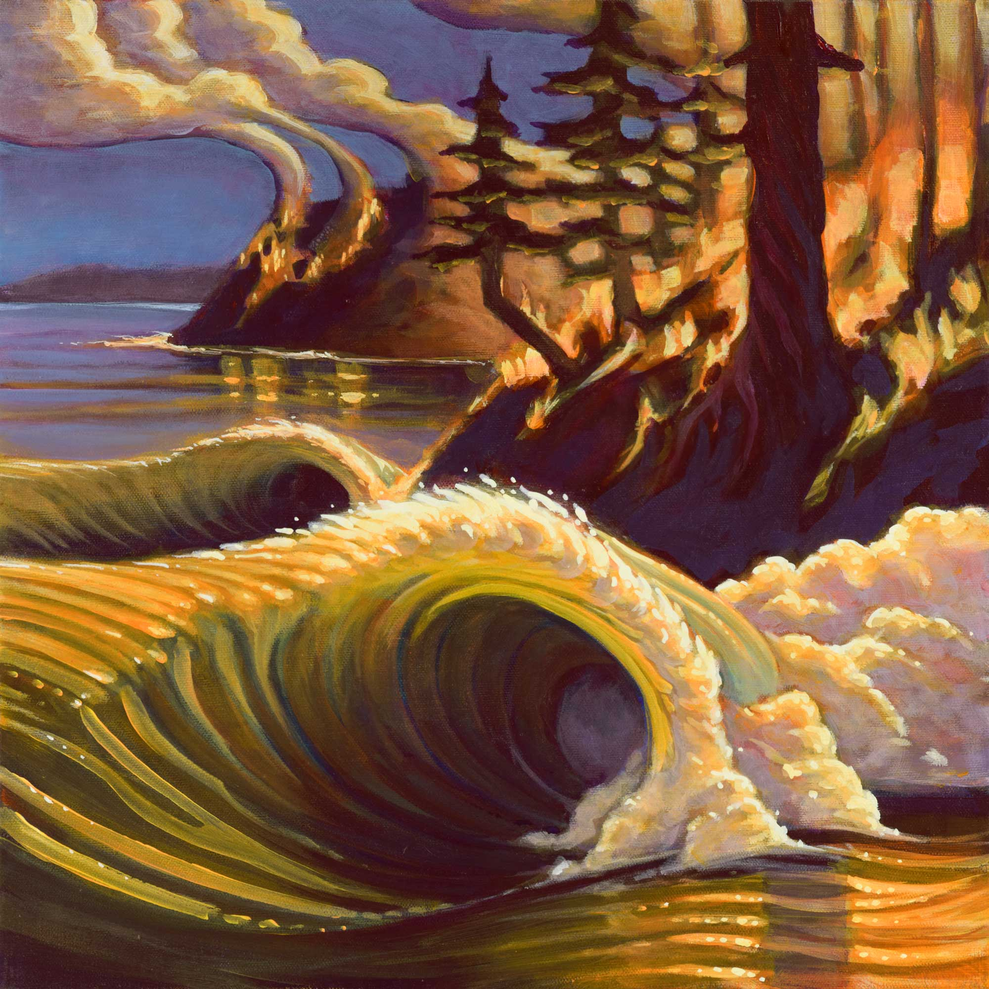 Painting of a wave breaking along a rugged coast with wildfires burning