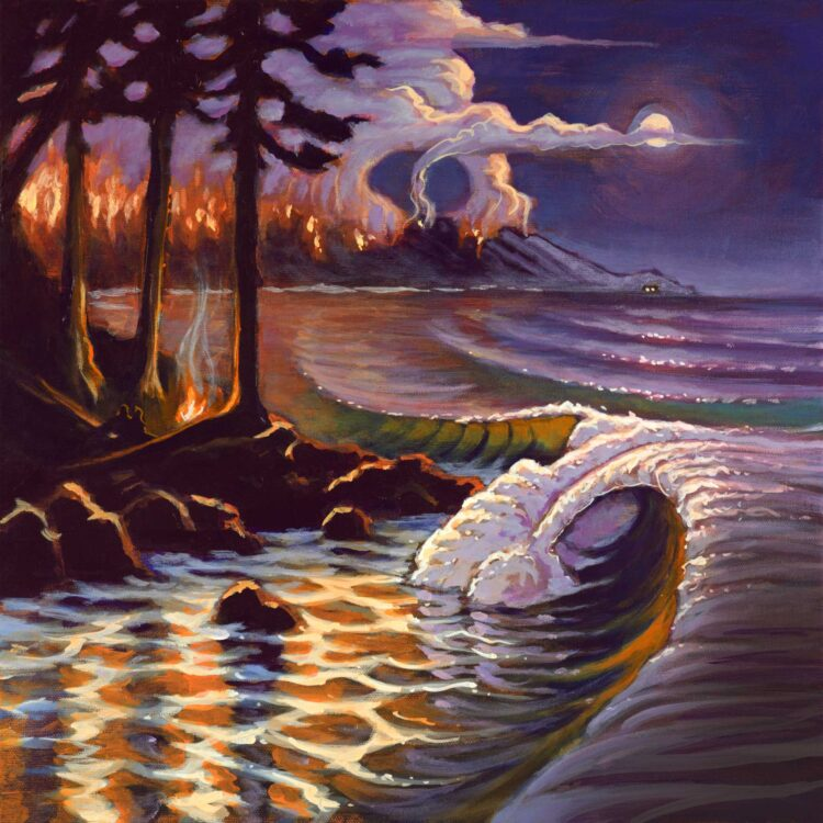 Painting of rocky coast at night with a wildfire in the distance