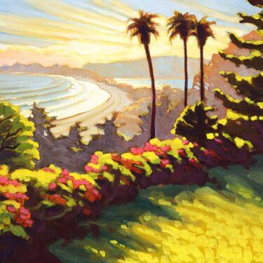 Plein air painting of Stinson Beach and Bolinas Lagoon on the Marin coast of northern California