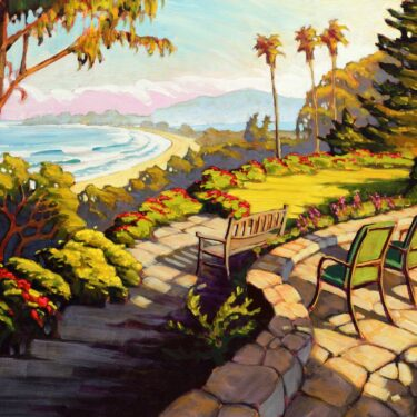 Plein air painting of Dipsea Garens overlooking Stinson beach and Bolinas Lagoon on the Marin coast of Northern California