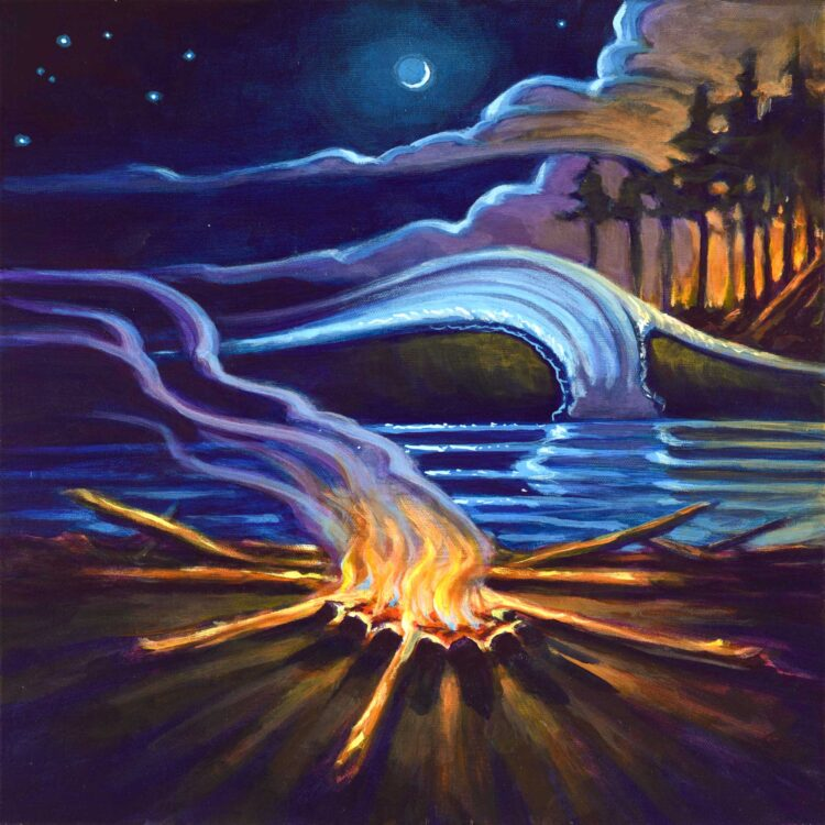 Painting of a campfire on the beach at night beneath a sliver of a moon