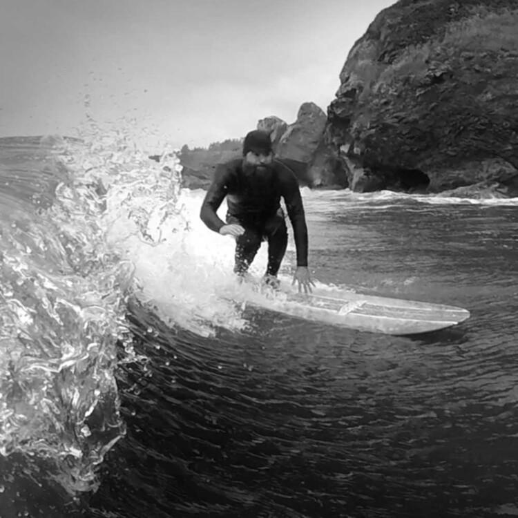 California artist Matt Beard surfing in northern California