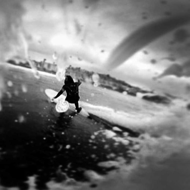 Artist Matt Beard turns off the bottom at a San Diego reefbreak