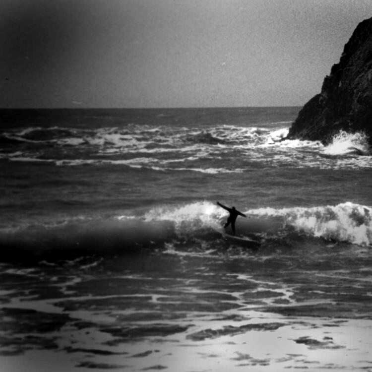 California artist Matt Beard surfing a terrible wave in northern California