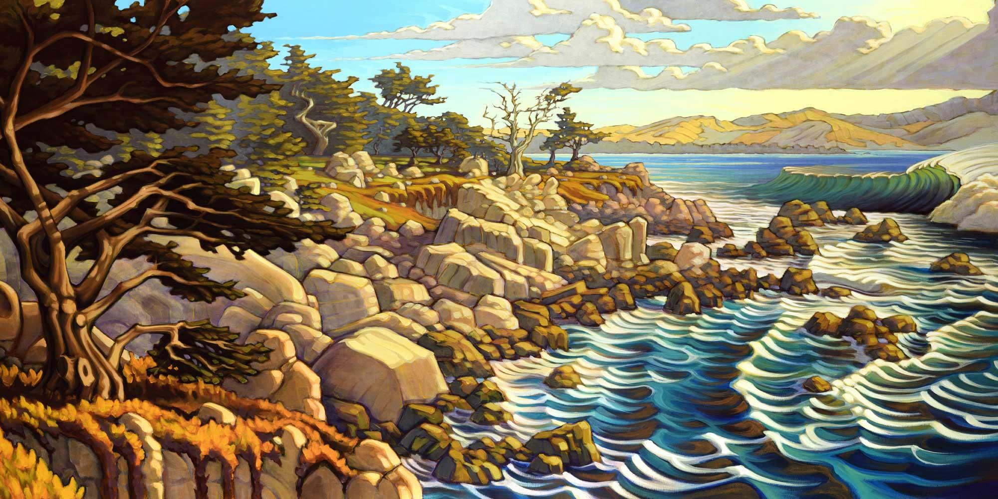 Painting by Matt Beard of the coast of California