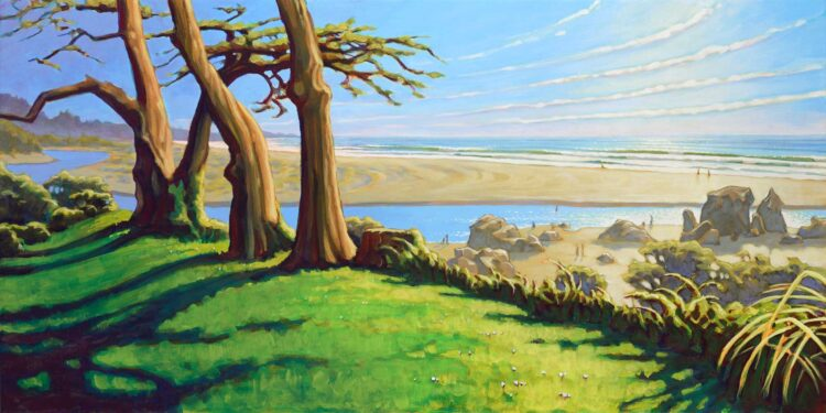 Plein Air painting of Little River at Moonstone Beach on Humboldt County's Trinidad coast of Northern California