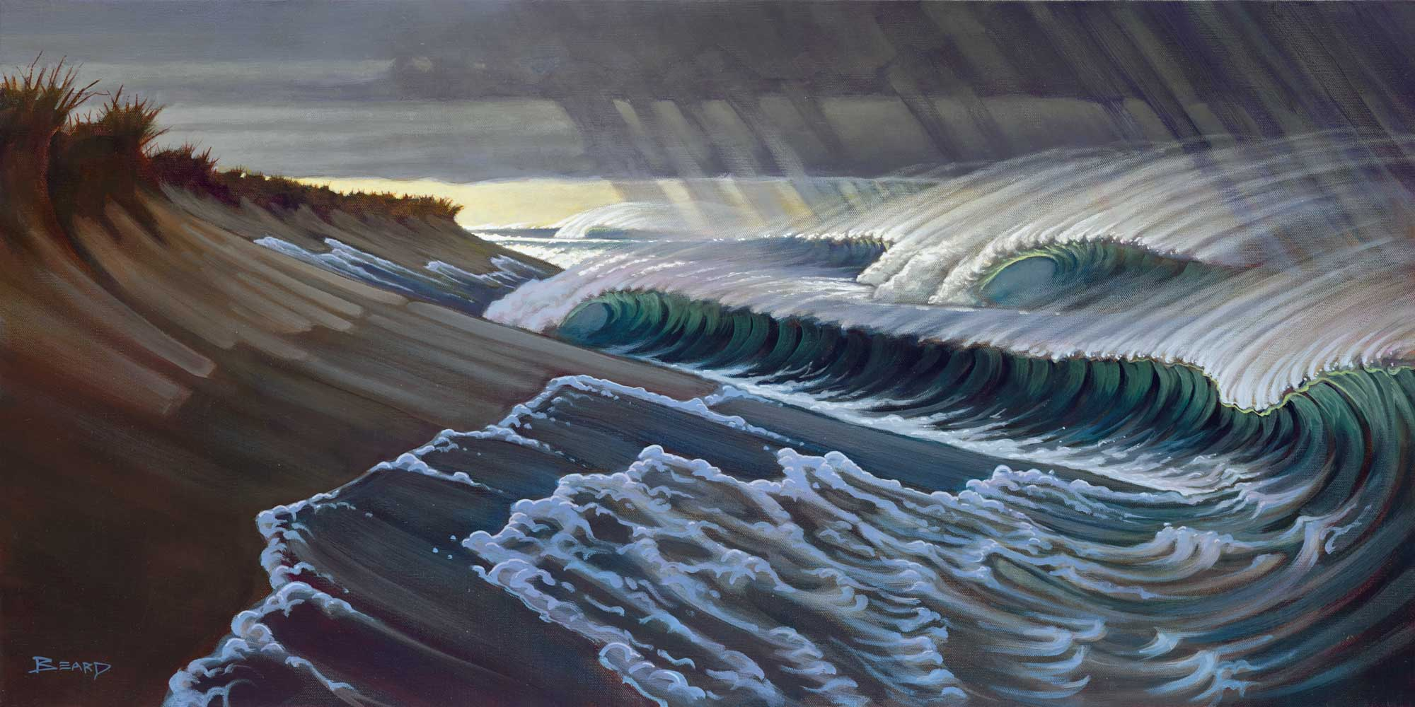 Painting of a dark storm and waves breaking off a beach in Northern California