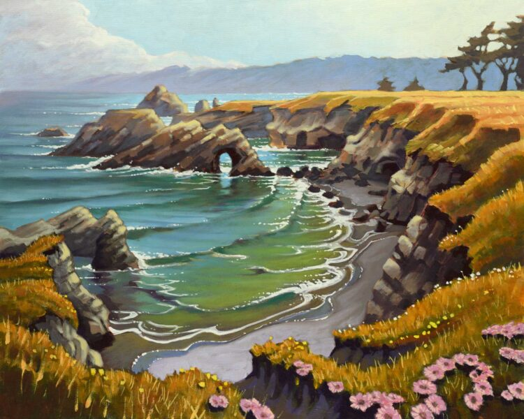 Plein air landscape painting of the Mendocino Headlands on the northern coast of California