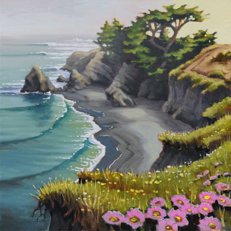 Plein air landscape painting of a cove at the Mendocino Headlands on the coast of Northern California