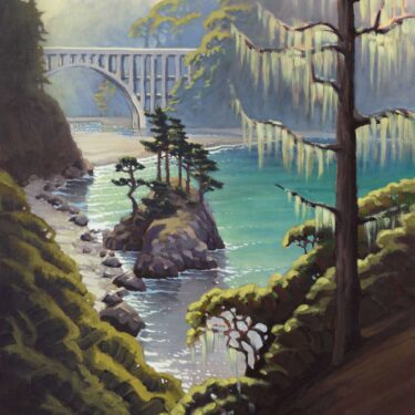 Plein air painting of Highway One bridge over Russian Gulch on the Mendocino Coast of Northern California