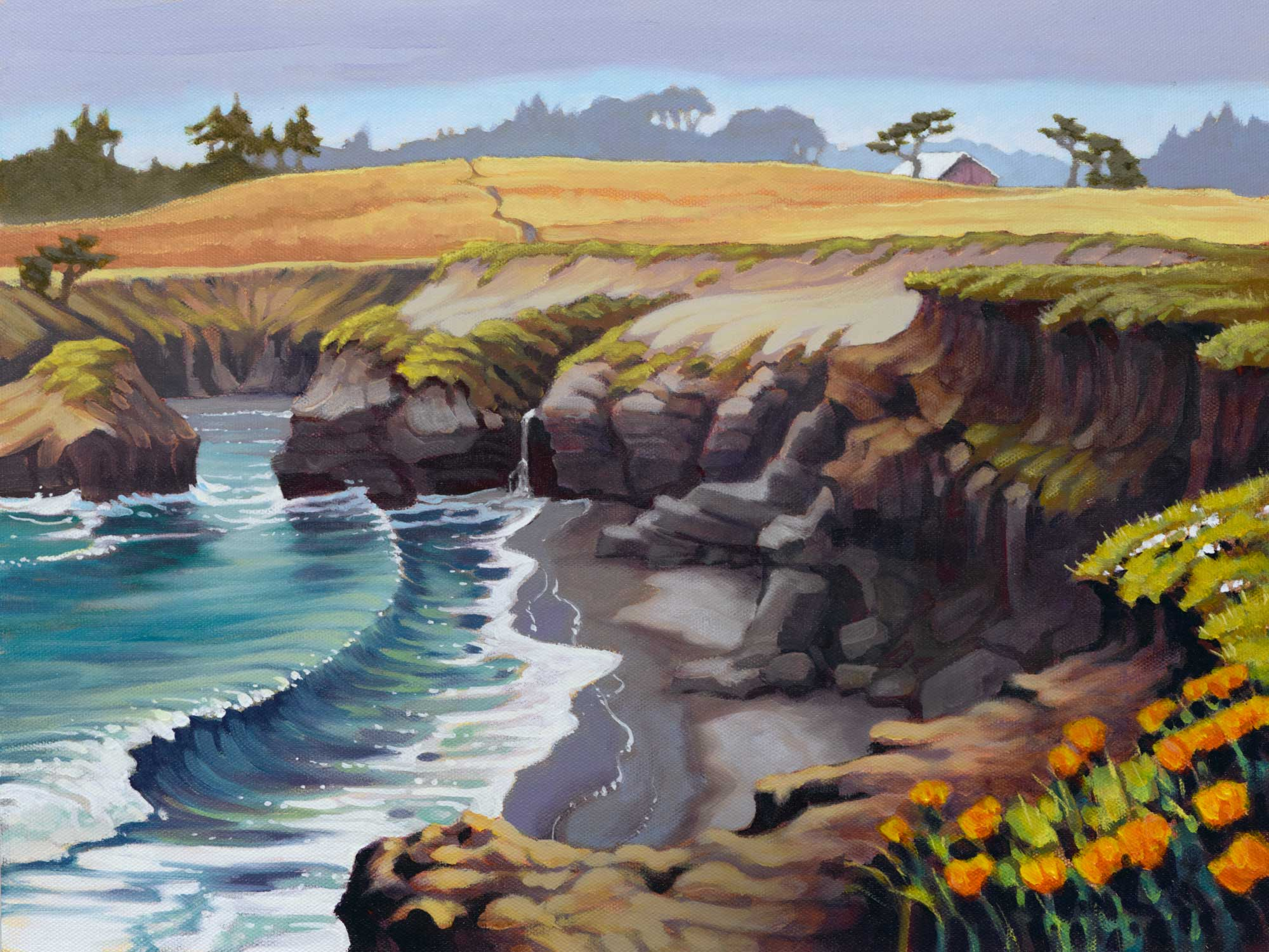 Plein air landscape painting of a rocky cove at Spring Ranch on the Mendocino coast of northern California