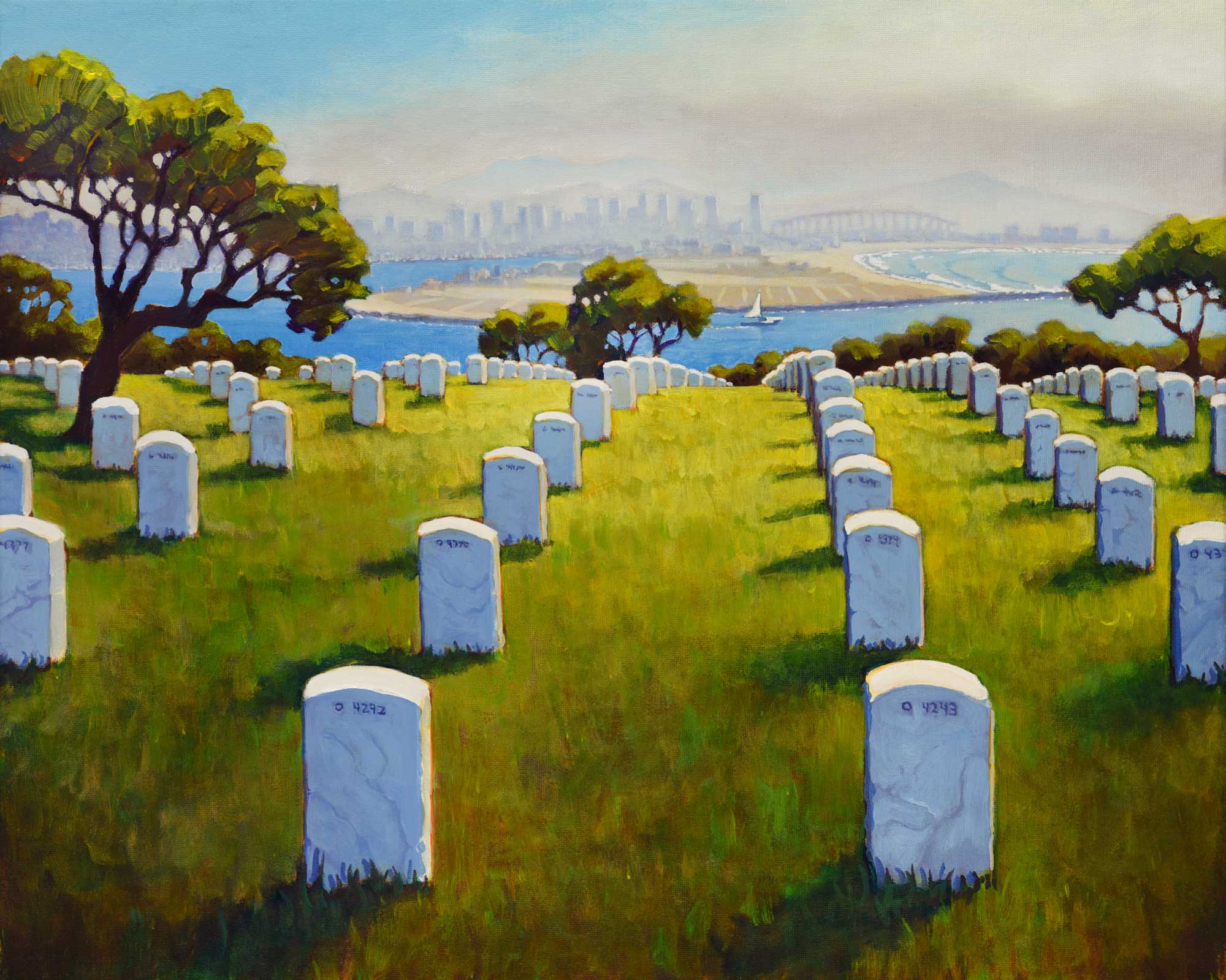 A plein air painting of the Fort Rosecrans military cemetery and the San Diego skyline on the coast of southern California