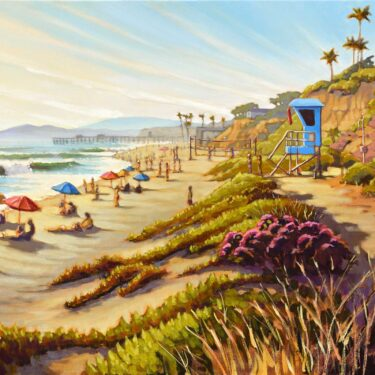 A plein air landscape painting of a busy day at La Suens beach in San Clemente on the Orange county coast of southern California