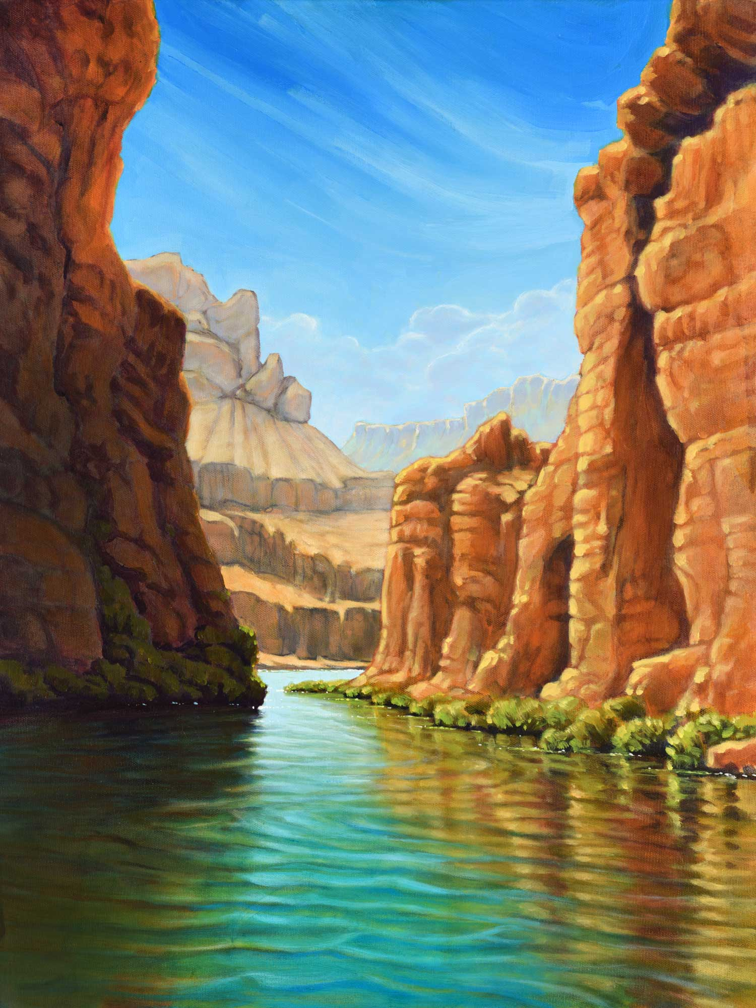 A landscape painting of the Colorado River in the Grand Canyon in Arizona