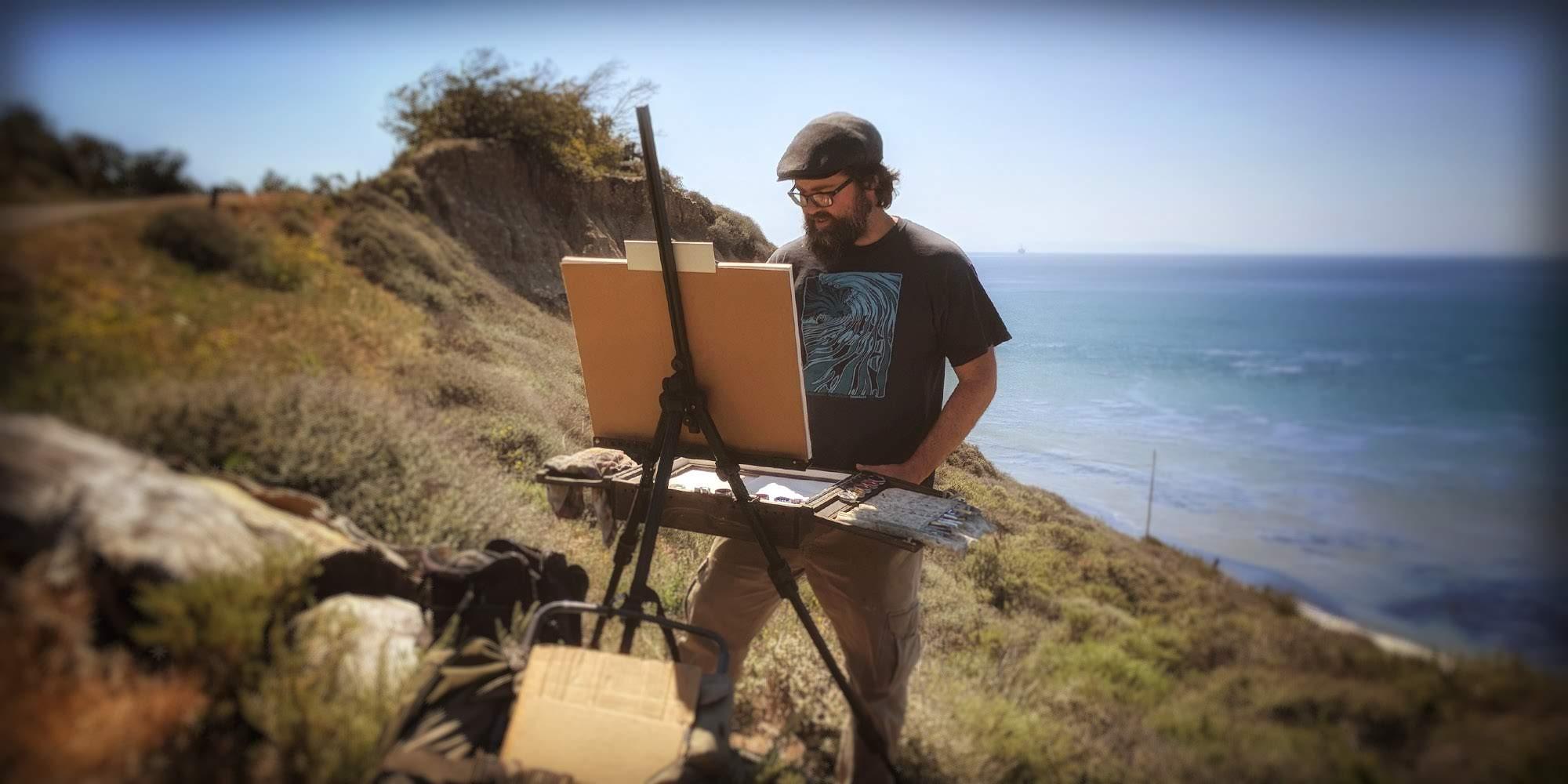 Artist Matt Beard painting plein air on the coast of Central California