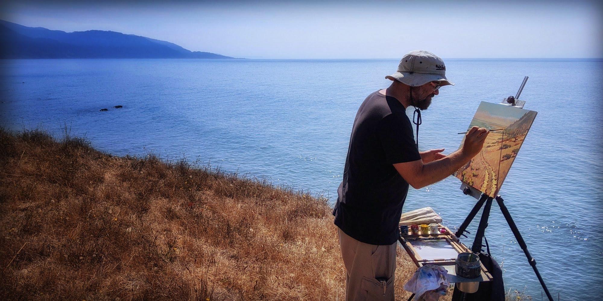 Artist Matt Beard painting plein air on the Lost Coast of Northern California