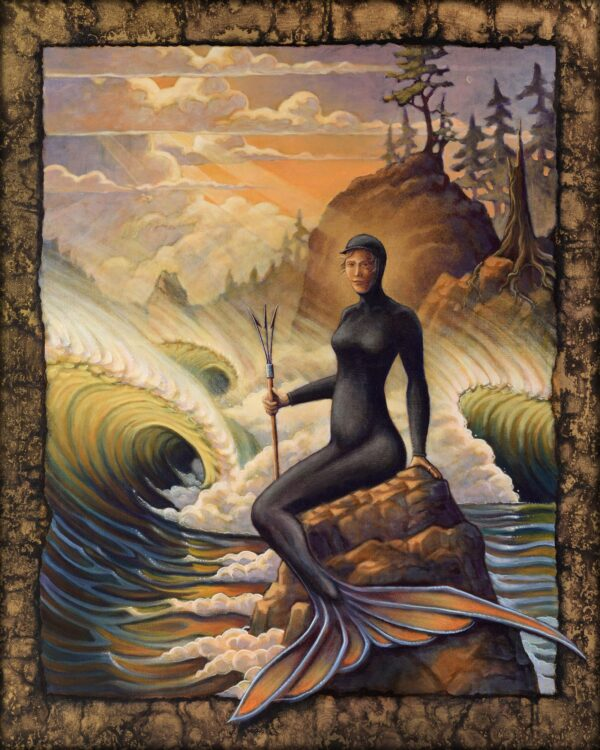 An imaginative painting of a coldwater mermaid with neoprene wetsuit skin on a rugged Nothern California coast
