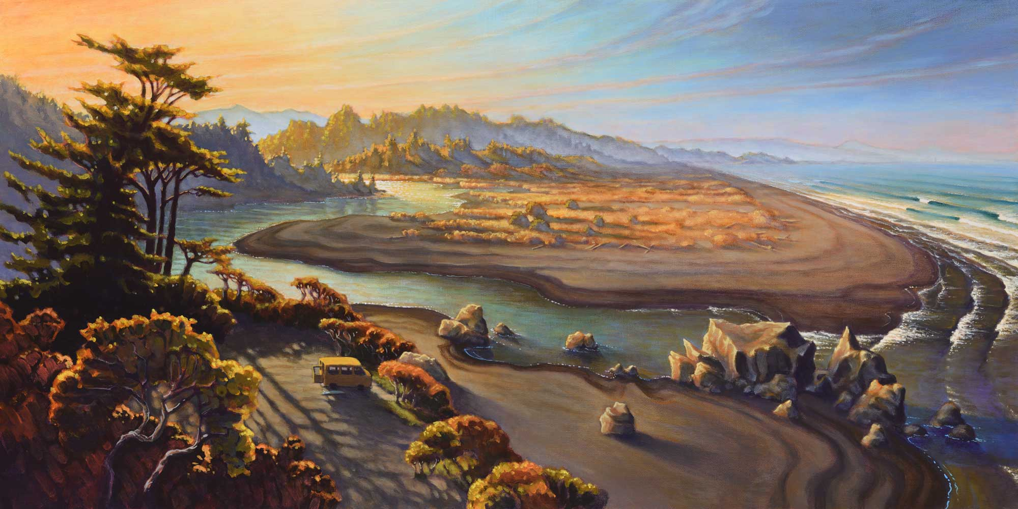 A landscape painting of Little River at Moonstone beach on Humboldt's Trinidad coast of northern California
