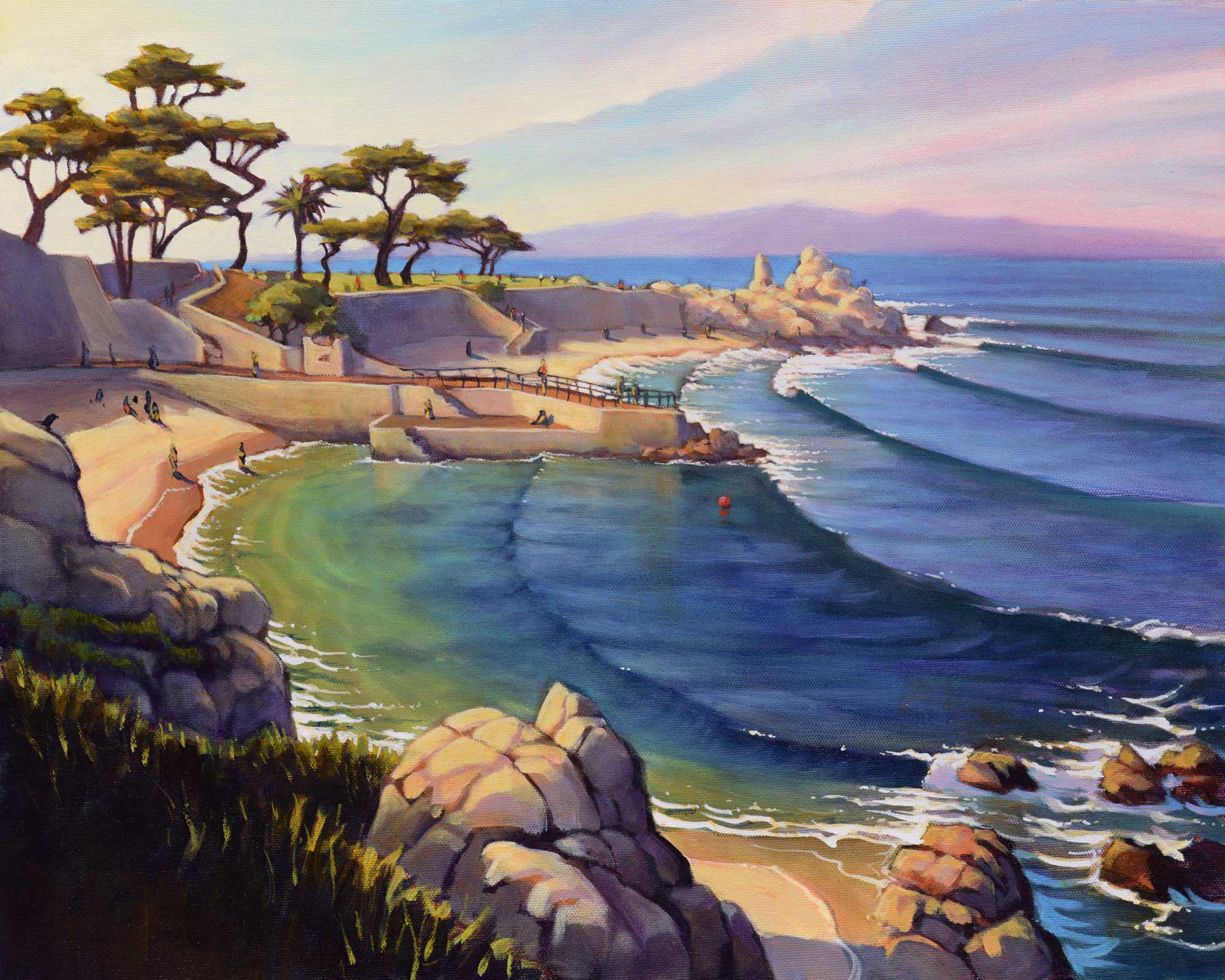 A plein air landscape painting of Lover's Point near Pacific Grove on the Monterey County coast of California
