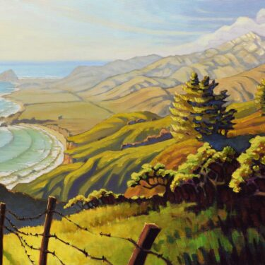 A plein air painting overlooking Andrew Molera and Point Sur with Pico Blanco in the distance on the Big Sur coast of California