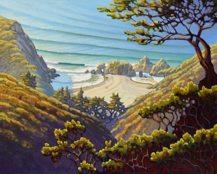 A plein air landscape painting looking down on Pfeiffer Beach on Monterey's Big Sur coast of Central California