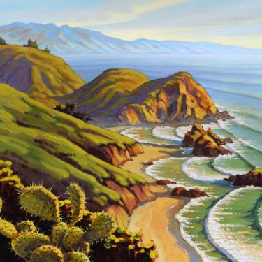 A plein air landscape painting of cactus overlooking Pfeiffer Beach on Monterey's Big Sur coast of Central California