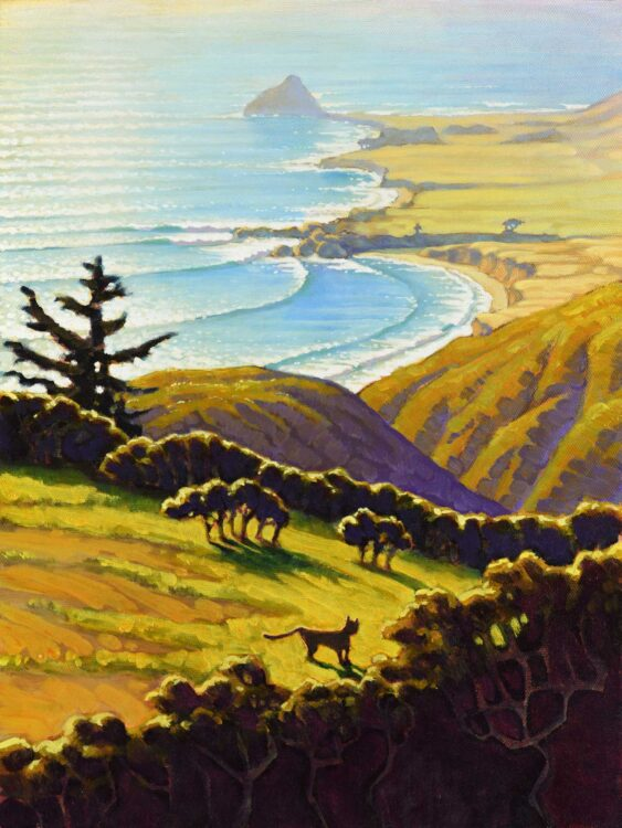 A plein air painting of a wildcat on a ridge overlooking Andrew Molera State Park and Point Sur on the central coast of California