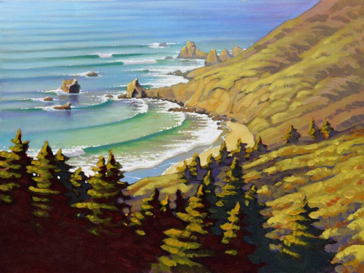 A plein air painting of Cooper point between Andrew Molera and Pfeiffer Beach on the Big Sur coast of central California
