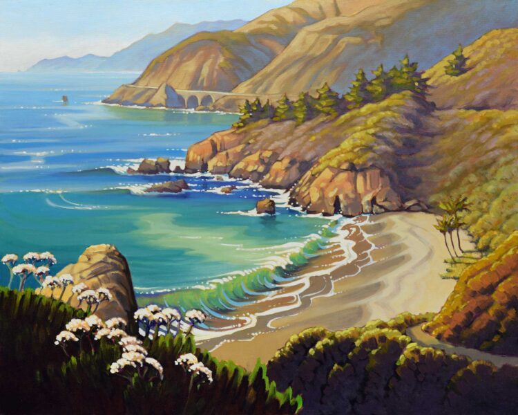 A plein air landscape painting of Gamboa point and Big Creek bridge on Highway One on Monterey's Big Sur coast of California