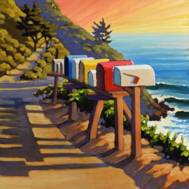 A plein air painting of a row of mailboxes beside Highway One along Monterey's Big Sur coast of Central California
