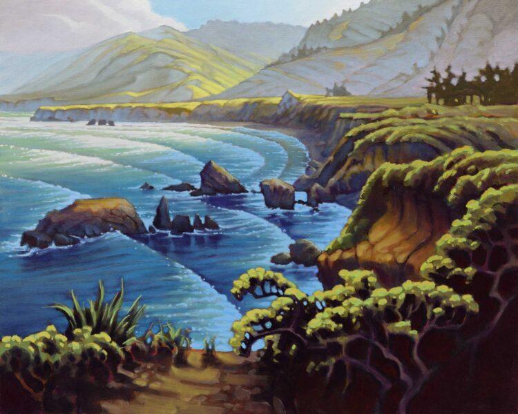 Plein air landscape painting of a dark day at Sand Dollar Beach near Plaskett Creek on Monterey's Big Sur coast of California