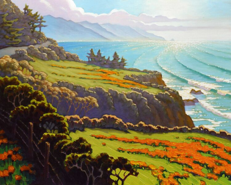 Plein air landscape painting of California poppies at Lopez point over Monterey's Big Sur Coast of Central California