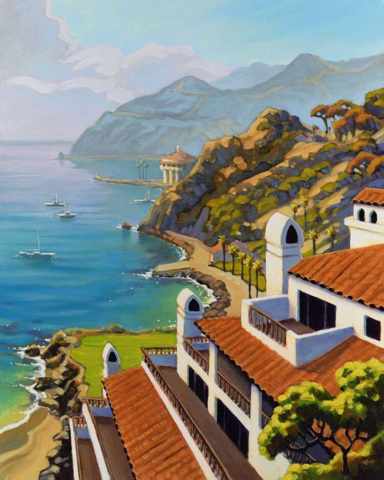 A plein air painting from Hamilton Cove looking toward Avalon Harbor on Catalina island off the coast of southern California