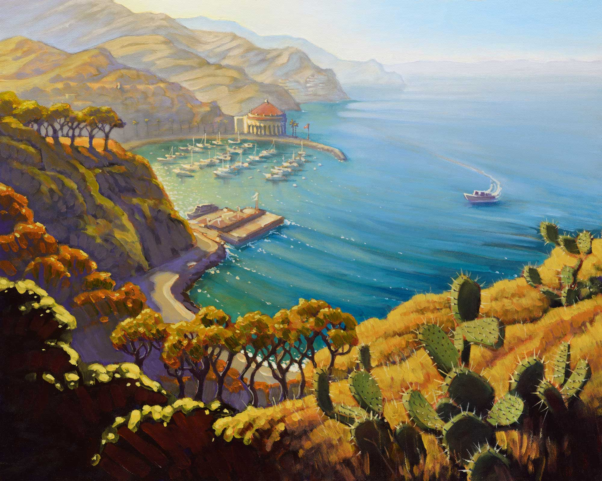 A plein air painting of the view over Avalon Harbor on Catalina Island off the coast of southern California