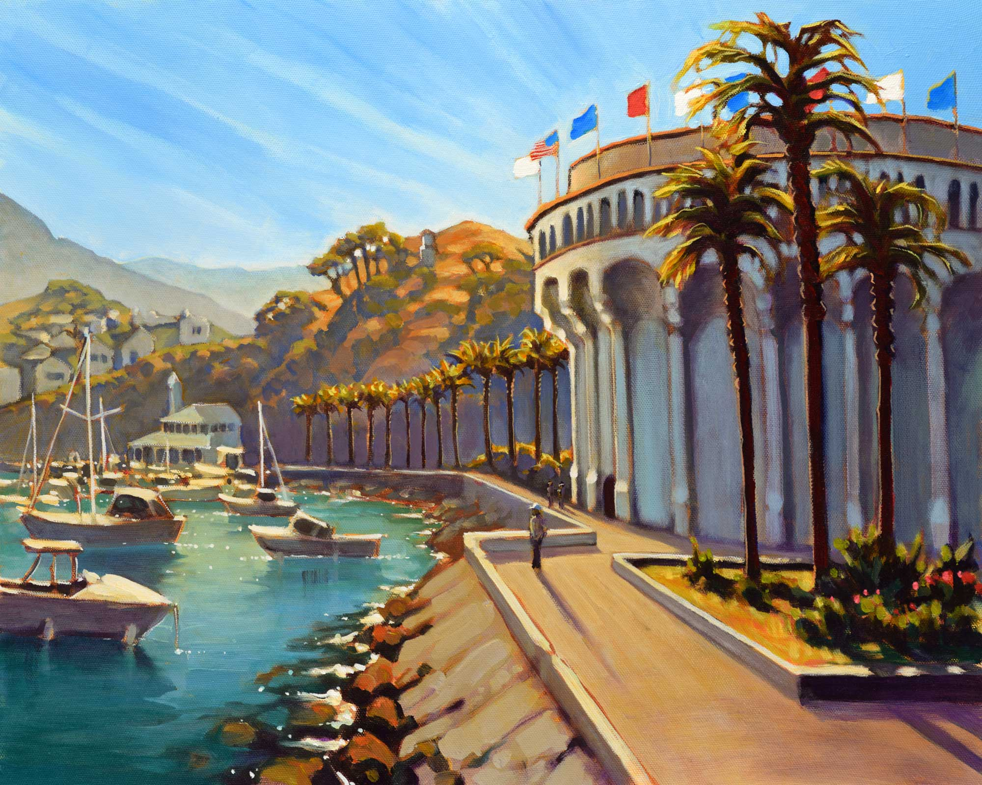 A plein air painting of the Casino building at Avalon Harbor on Catalina island off the coast of southern California