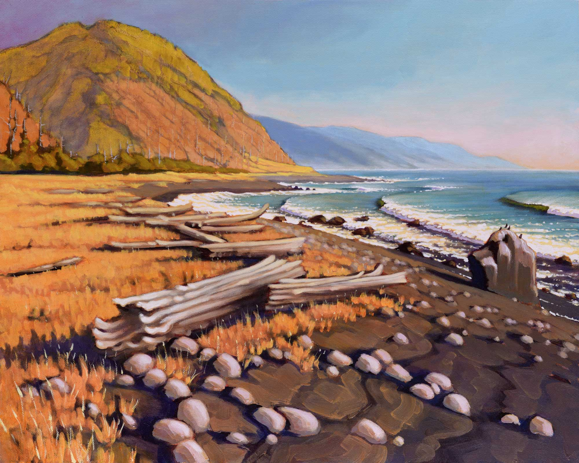 A plein air landscape painting of a rocky point on the far northern coast of California