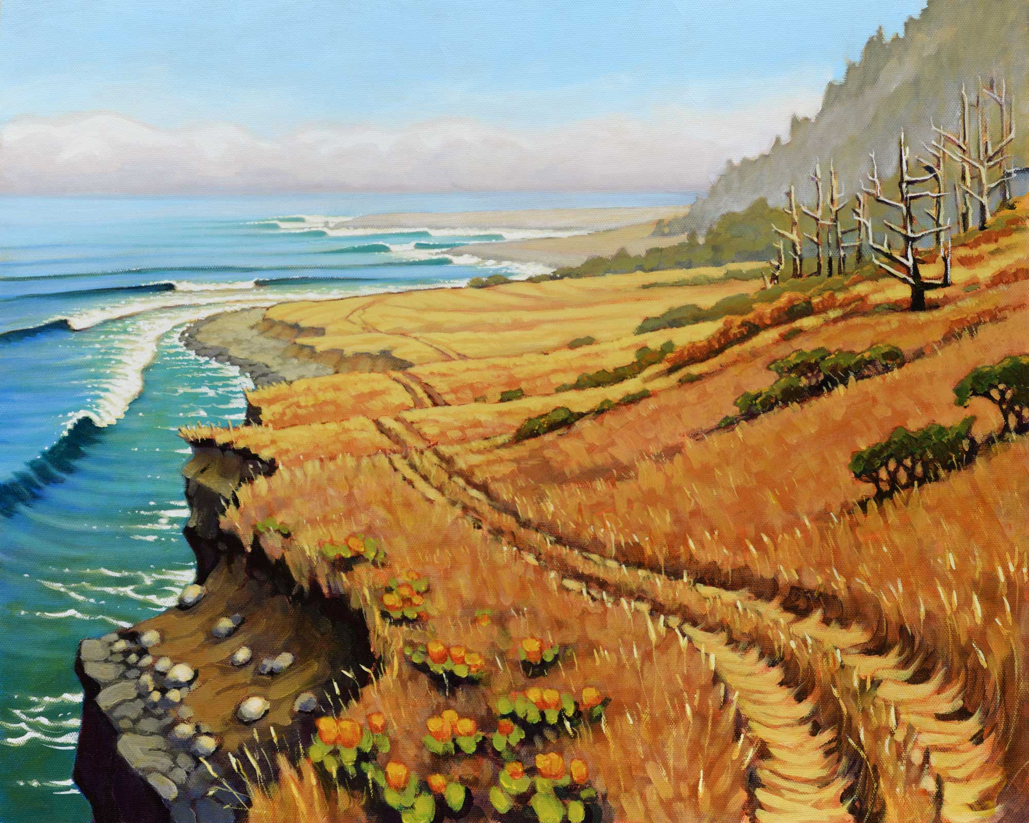 A plein air landscape painting of a trail through a coastal meadow on the far northern coast of California