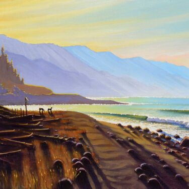 An early morning landscape painting of deer grazing on a coastal meadow at sunrise on the Northern California coast